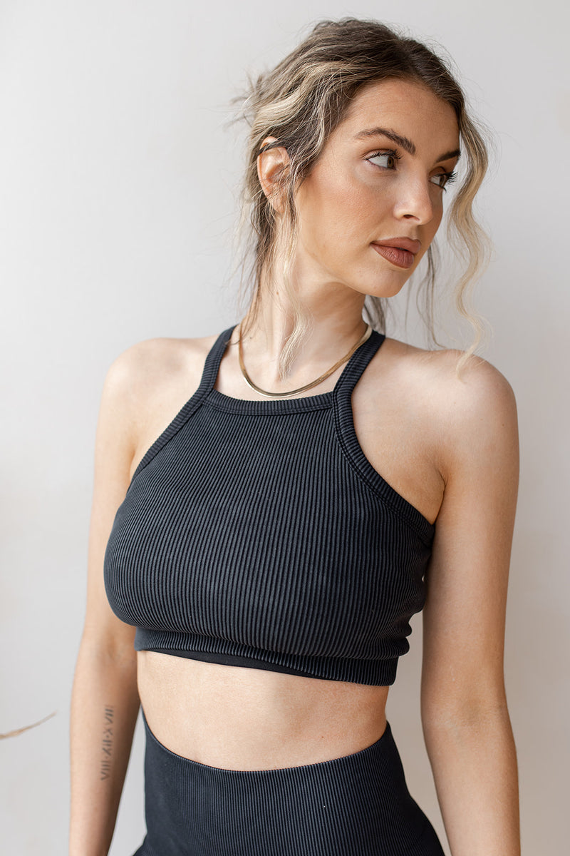 square neck ribbed crop tank