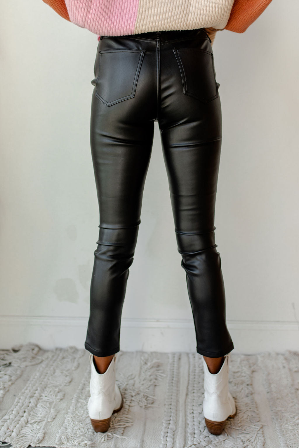aline faux leather high rise skinny