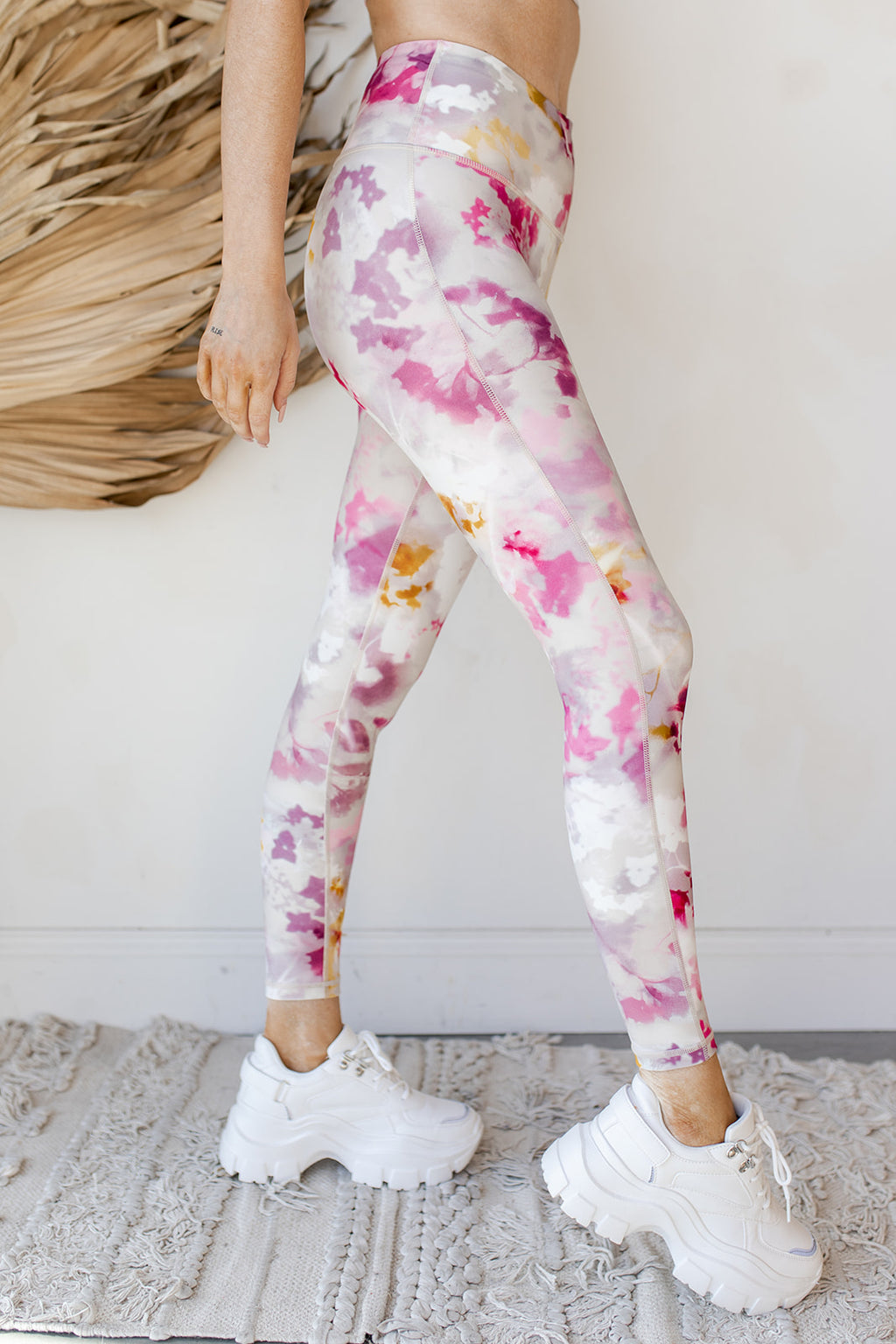 watercolor floral highways leggings