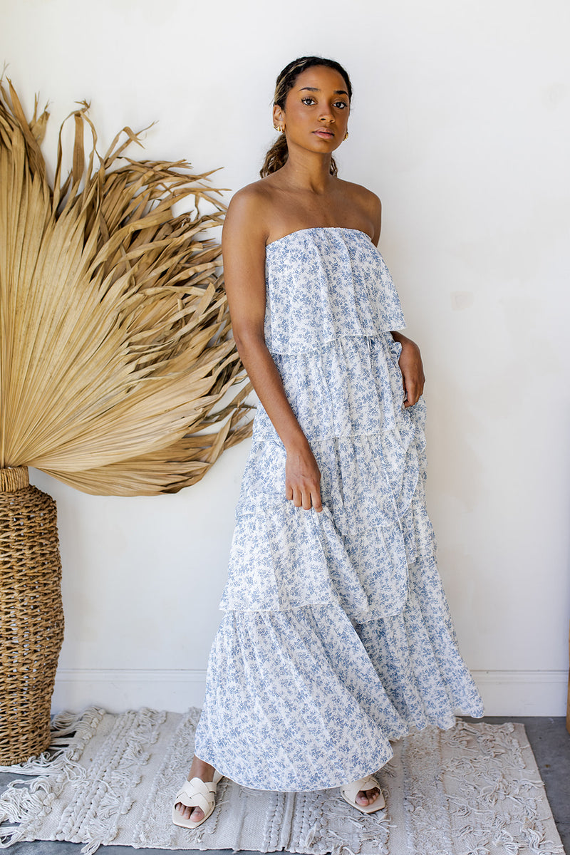 whimsical tiered ruffle maxi