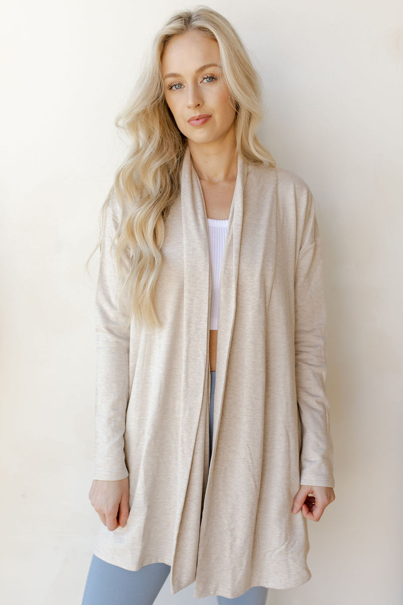 open cardigan with back yoke