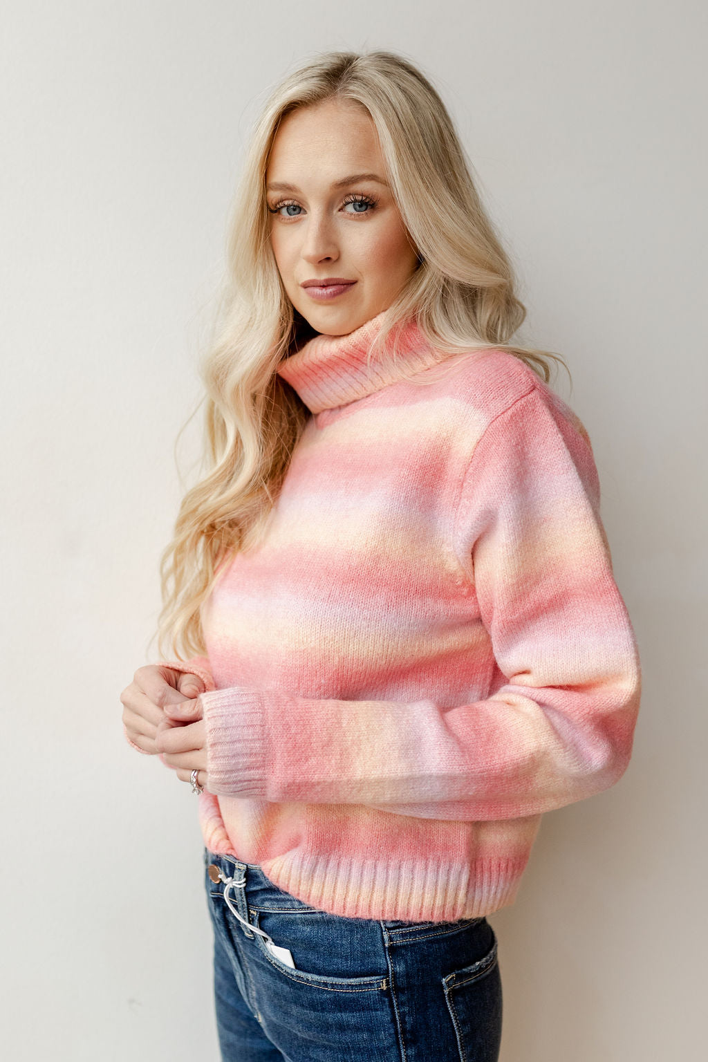 shades of pink crop sweater