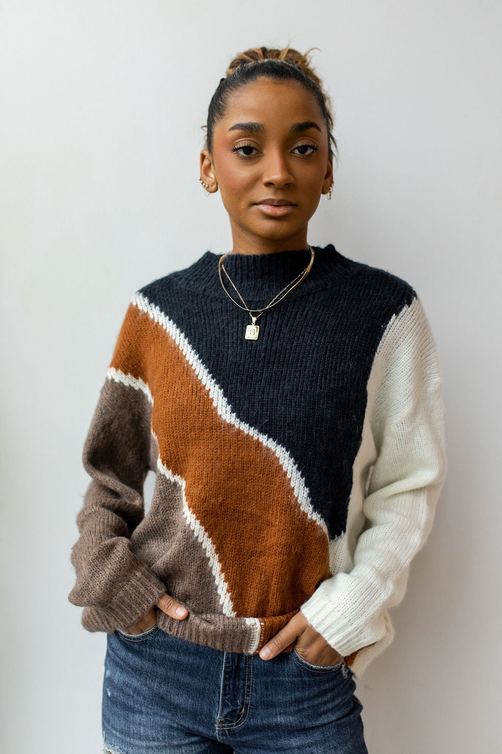 angles colorblock sweater