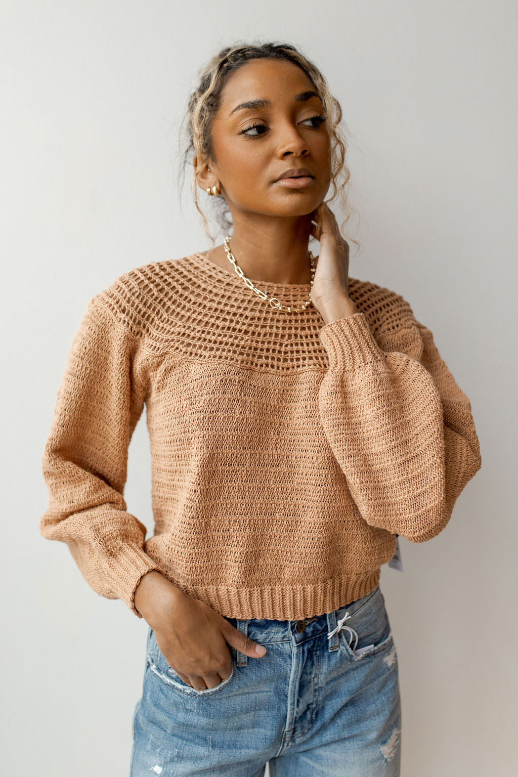 stevie long sleeve knit sweater