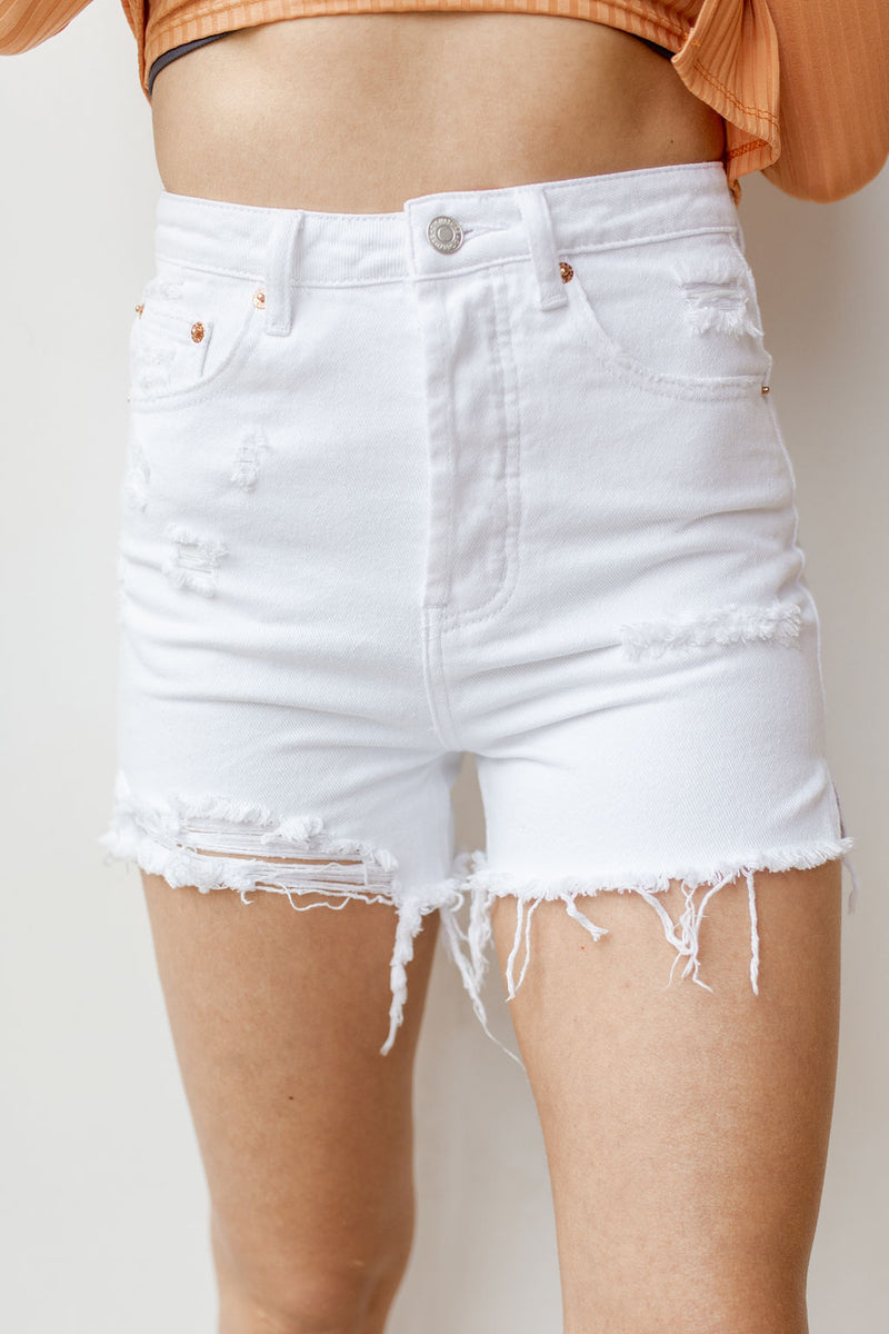 shine bright distressed shorts