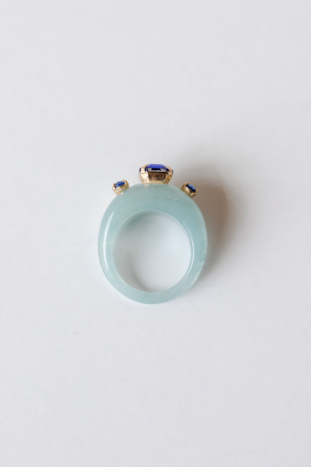3 stone blue bubble ring