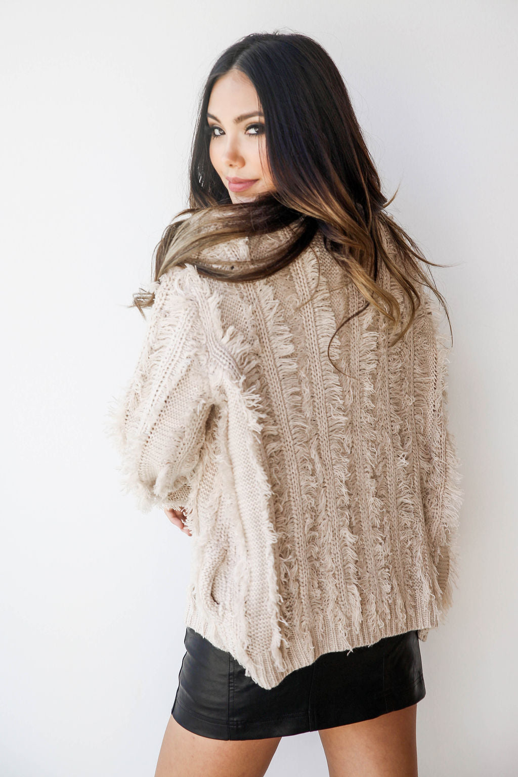 mode, all around fringed cardi
