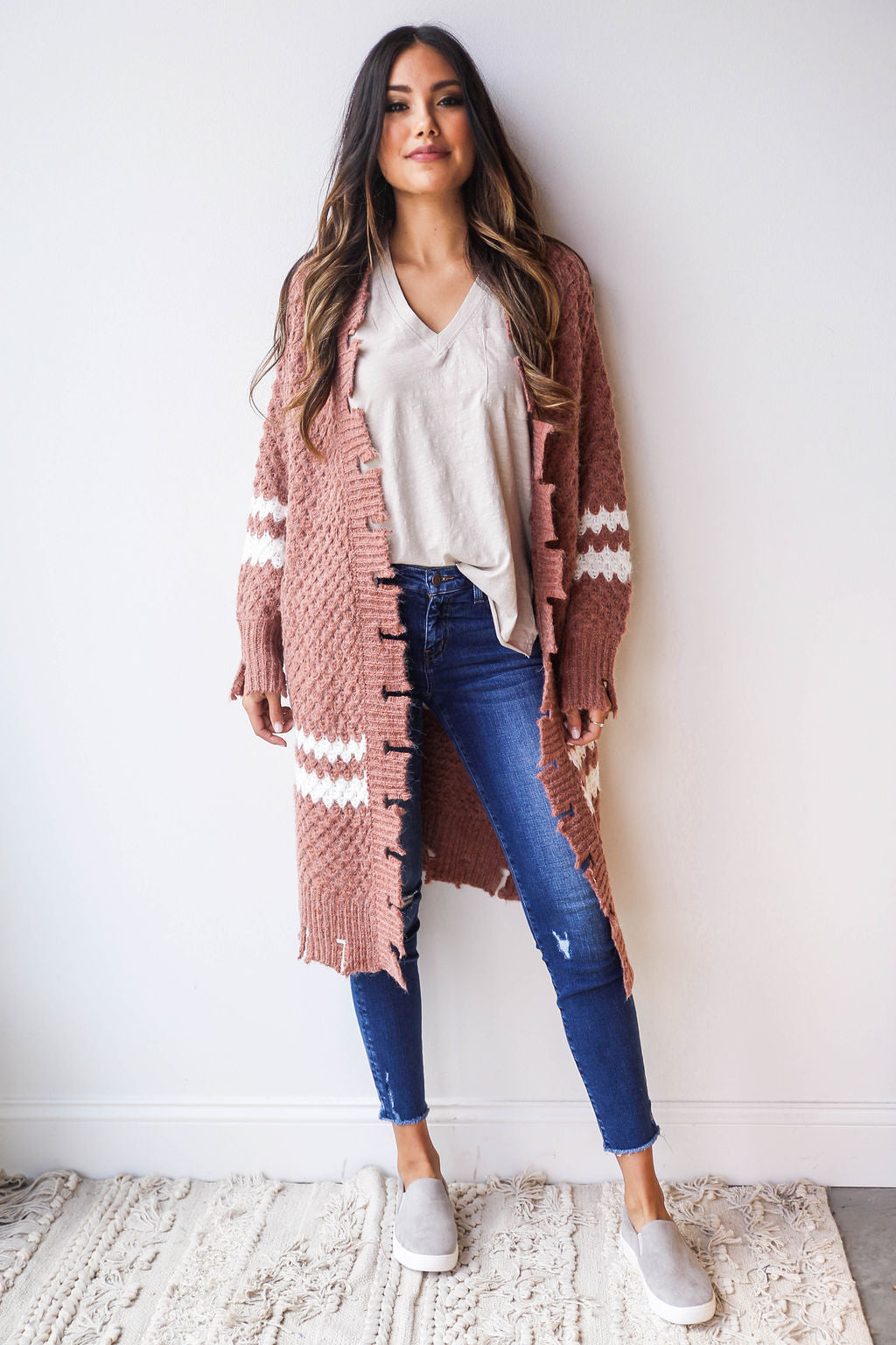 mode, distressed hem cardigan