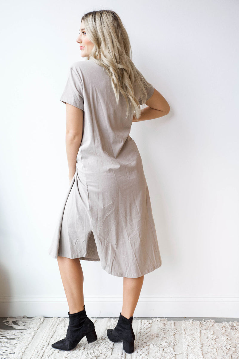 mode, side twist jersey dress
