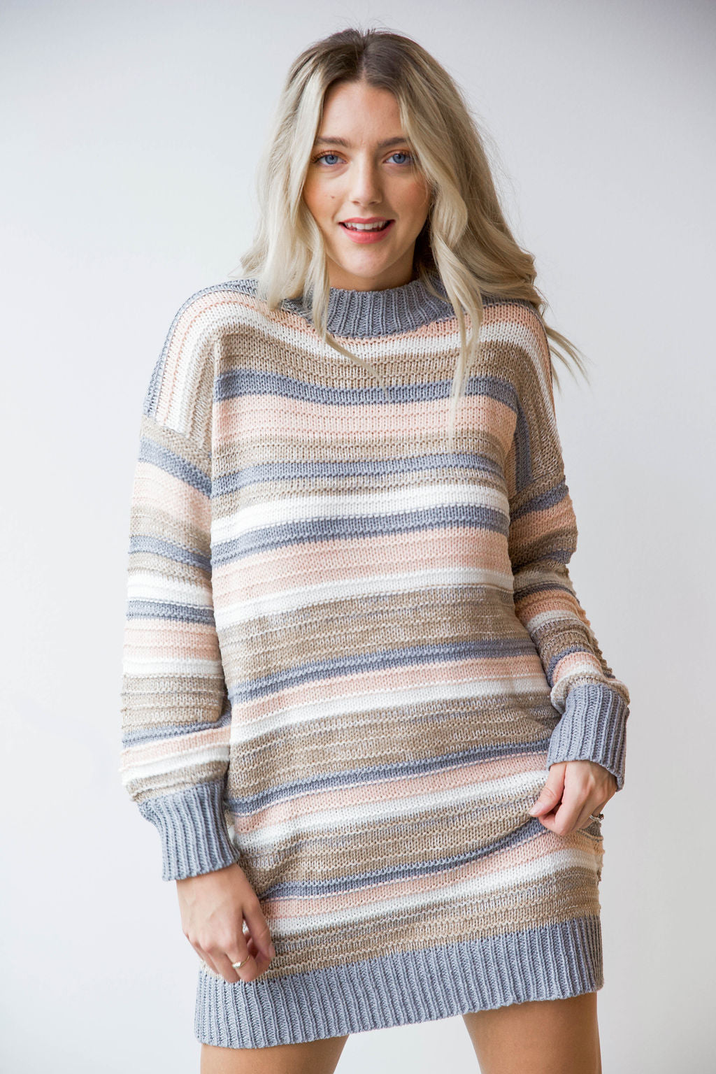mode, so lost striped sweater dress