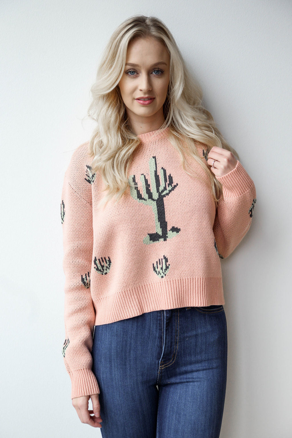 mode, fuzzy cactus sweater