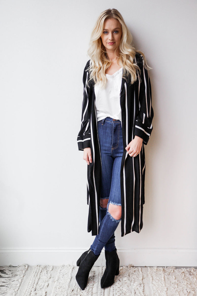 mode, stripe duster jacket