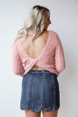 fuzzy twist back sweater