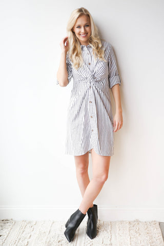 stripe twist dress