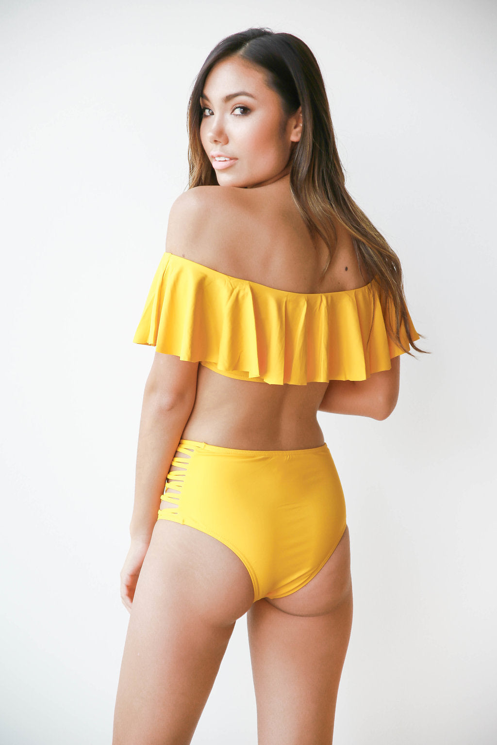 mode, golden girl swim bottoms