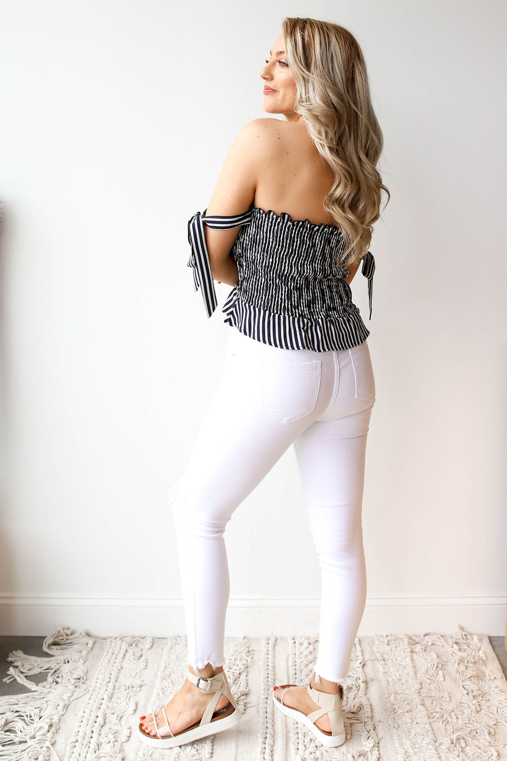 mode, luciana off shoulder top