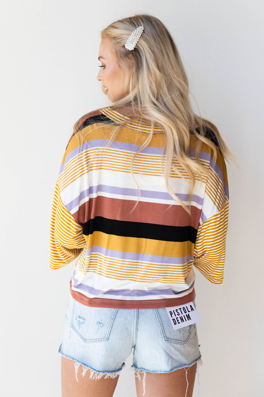 mode, all the color stripe tee