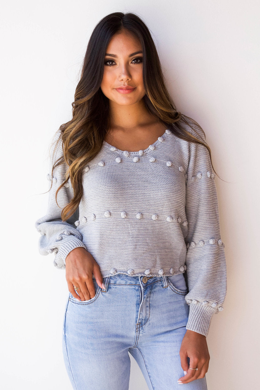 pom pom sweetheart sweater