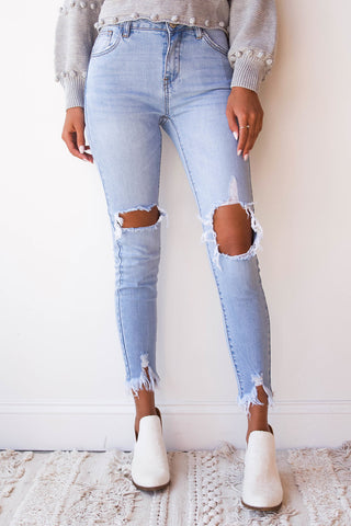 Keely high rise distressed denim