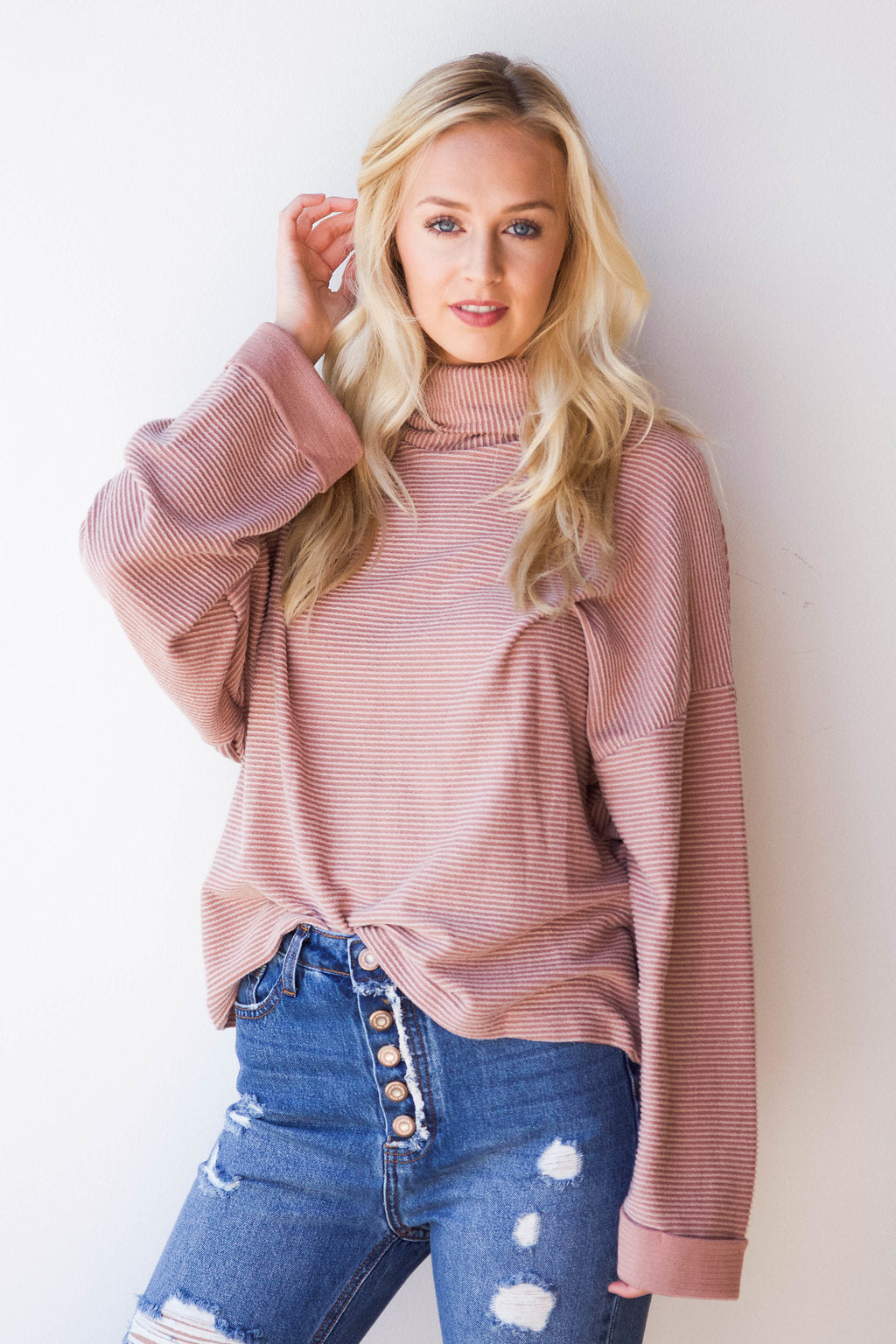 mode, brushed cowl neck long sleeve