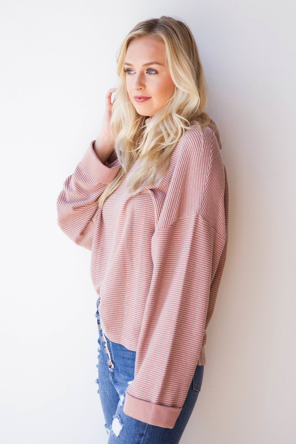 brushed cowl neck long sleeve