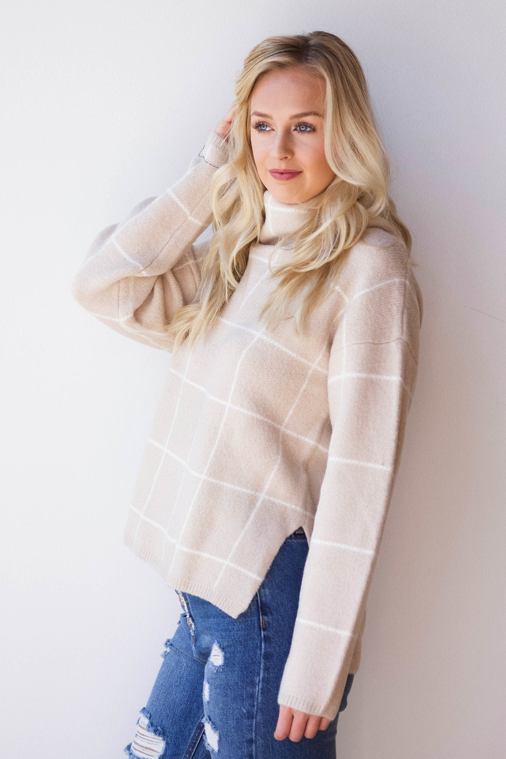 elegant plaid turtle neck