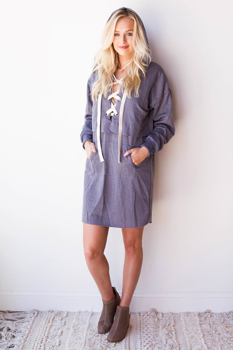 mode, lace up hoodie dress