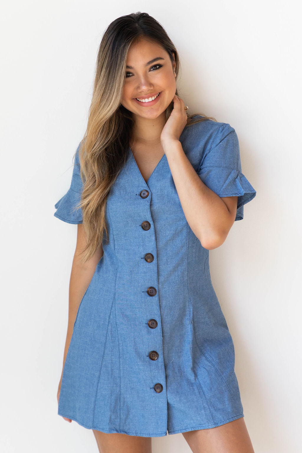 mode, daisy denim button dress