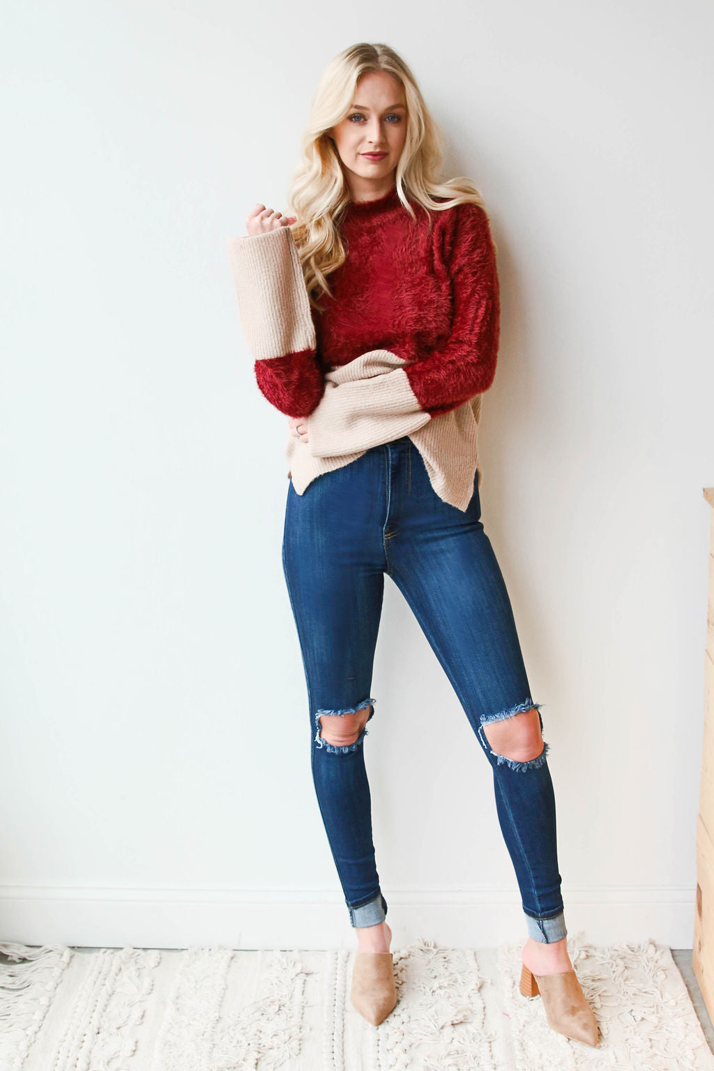 mode, crimson sand dipped sweater