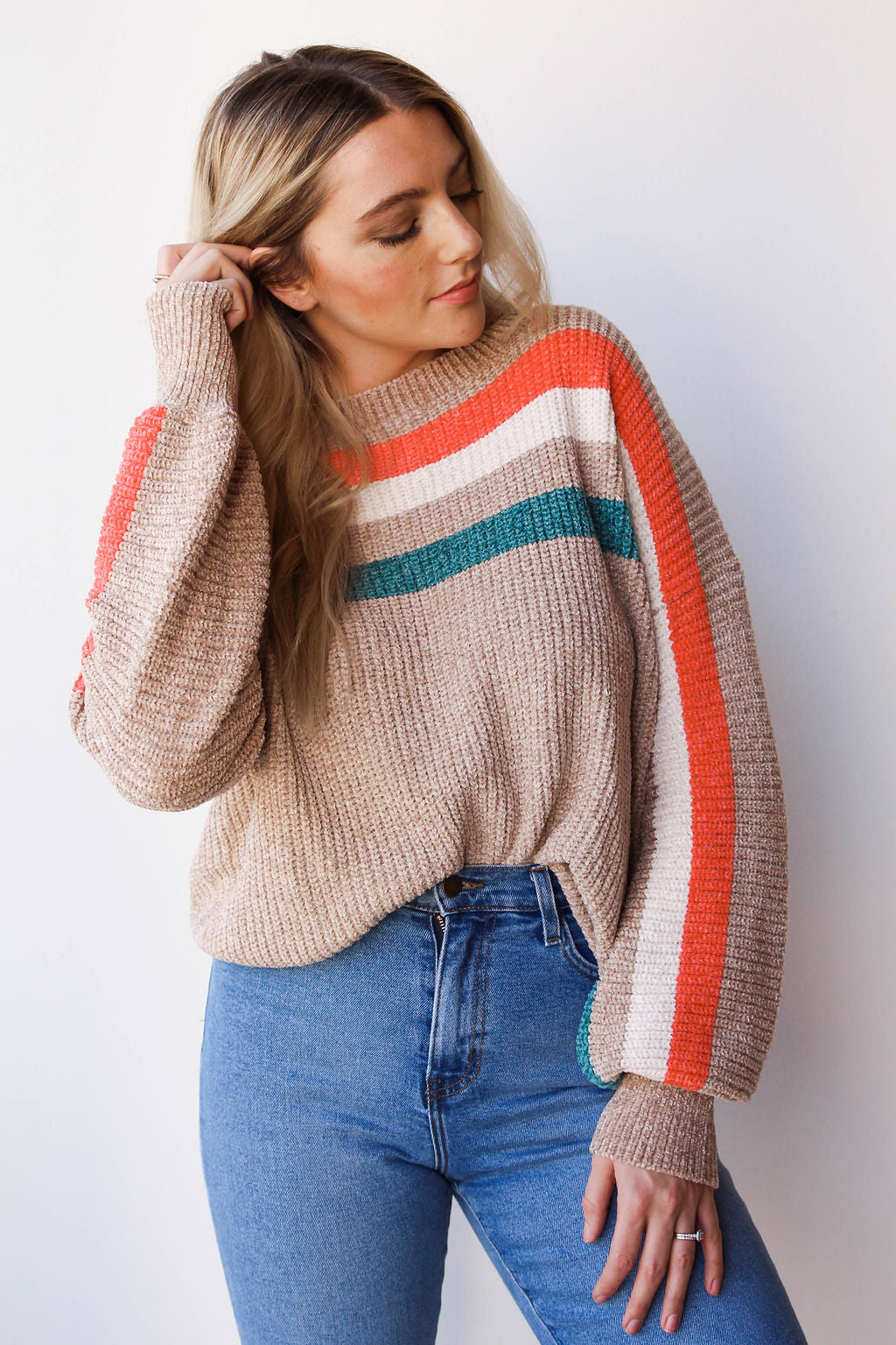 mode, lurex ribbed color stripe sweater
