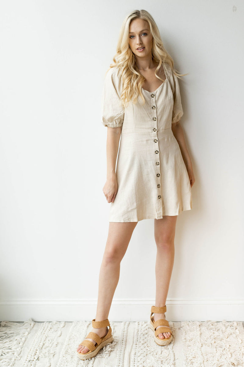 mode, devoted button dress