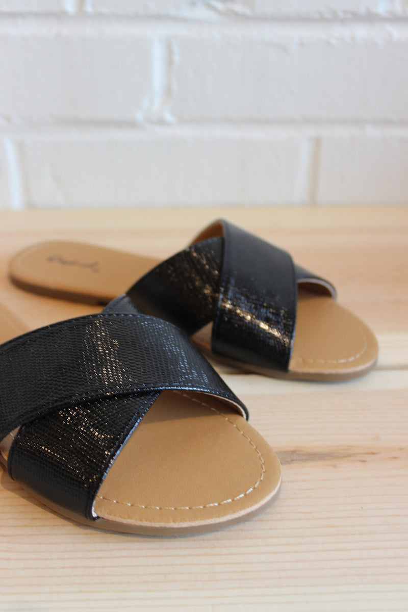 mode, lizard slide on sandals