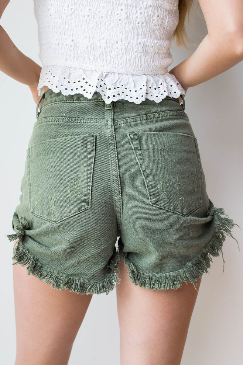 mode, mari distressed denim shorts