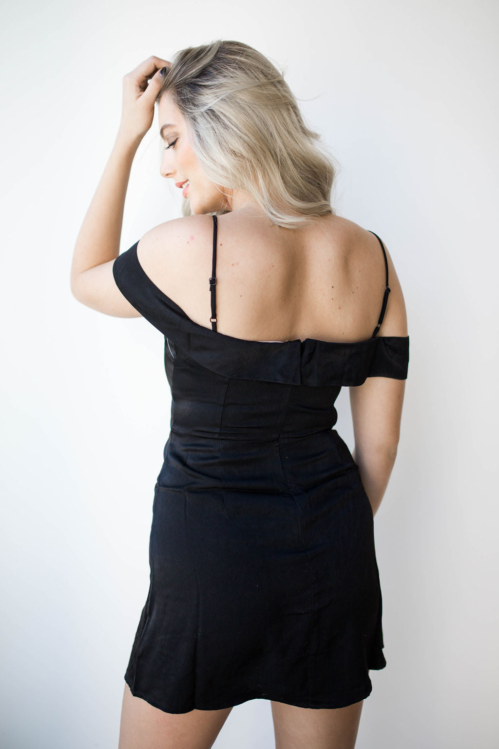 mode, strappy off shoulder satin dress