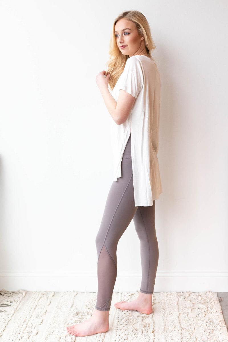 mode, in a mesh legging