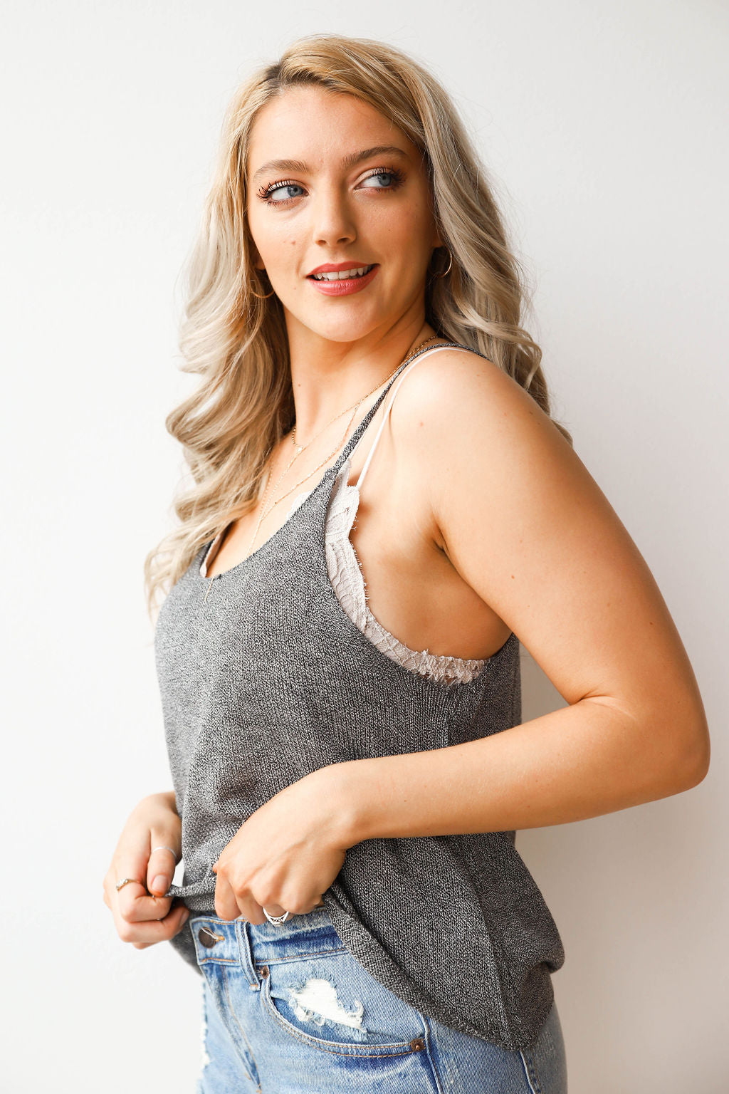mode, two tone  slouch tank