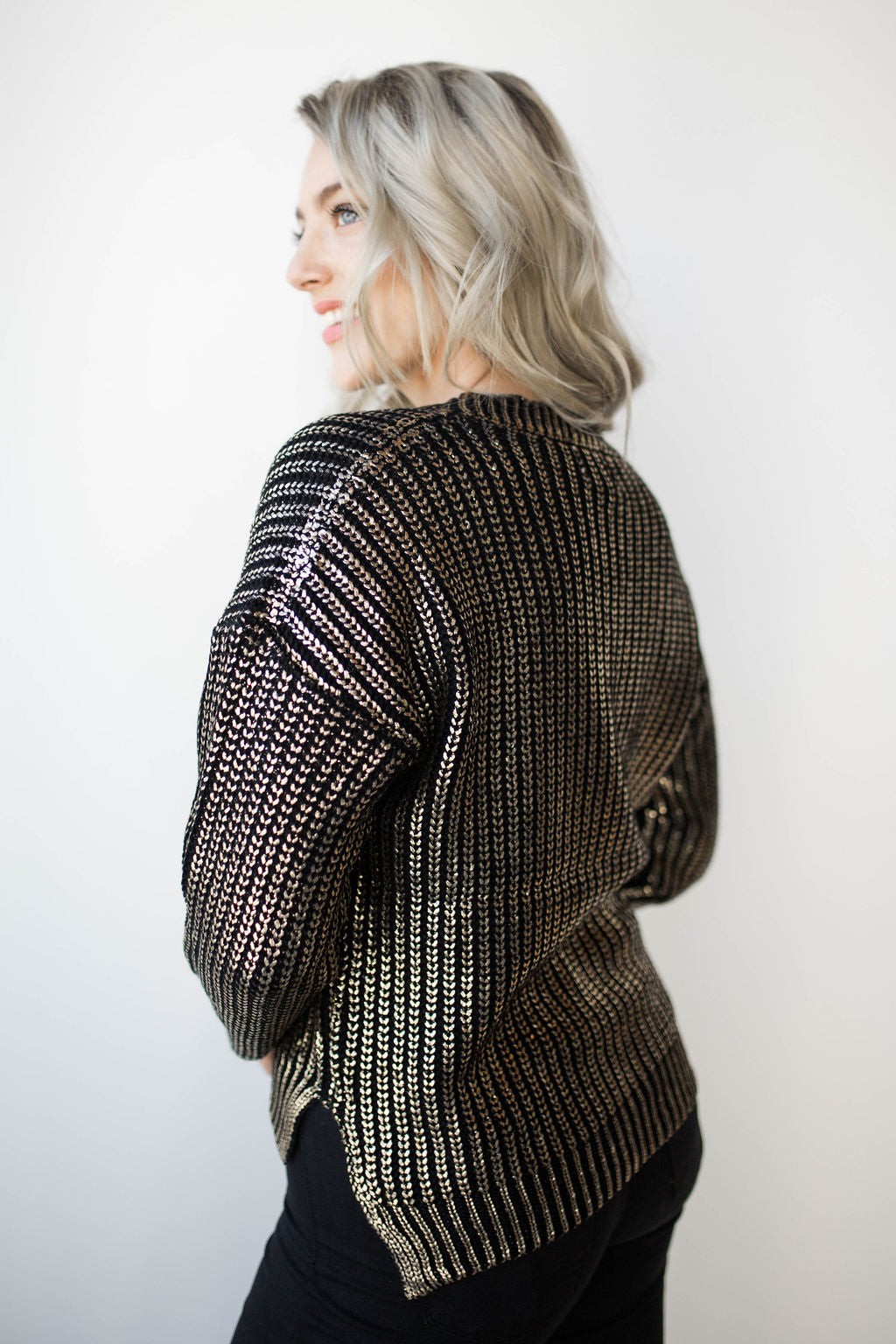 mode, all that shimmers dipped sweater