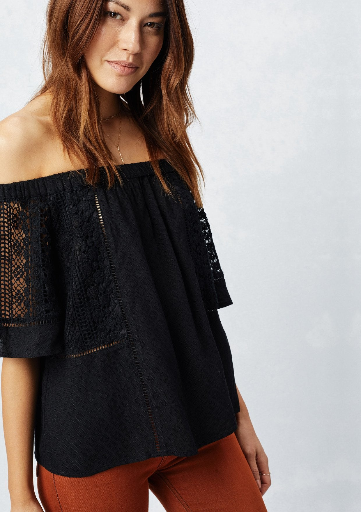 mode, lace inset off shoulder top