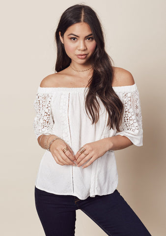 lace inset off shoulder top