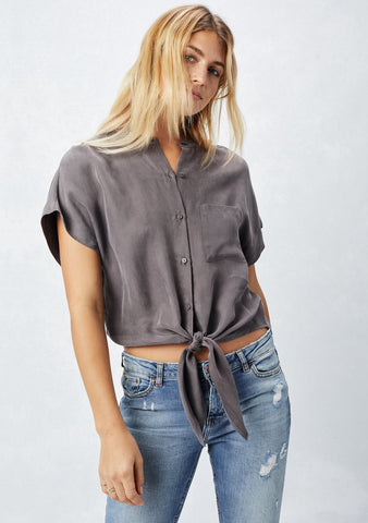 cupro top w collar