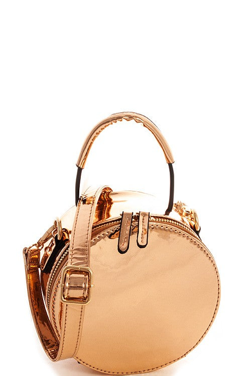 mode, roundie rosegold bag