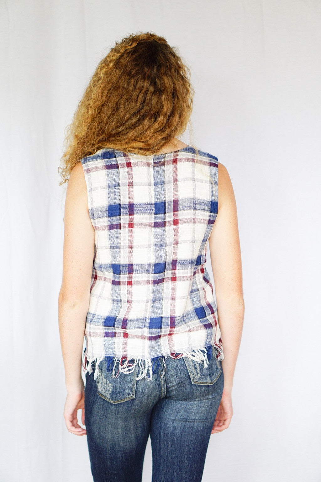 mode, raw edges plaid top
