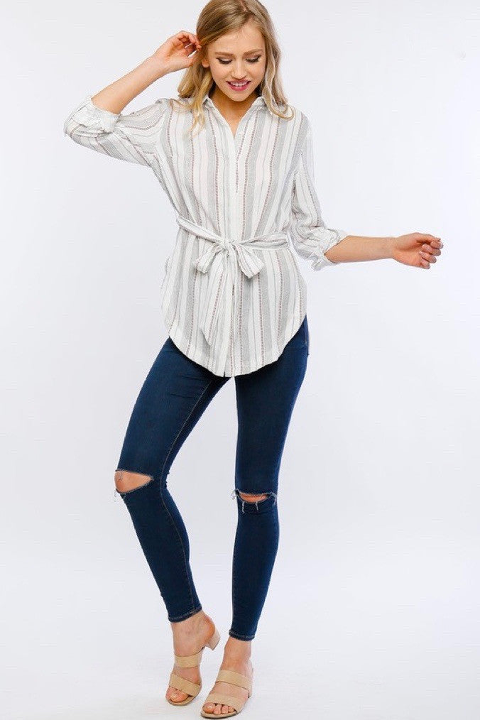 belted red stripe blouse