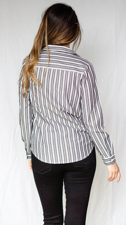 mode, pinstripe crossbody blouse
