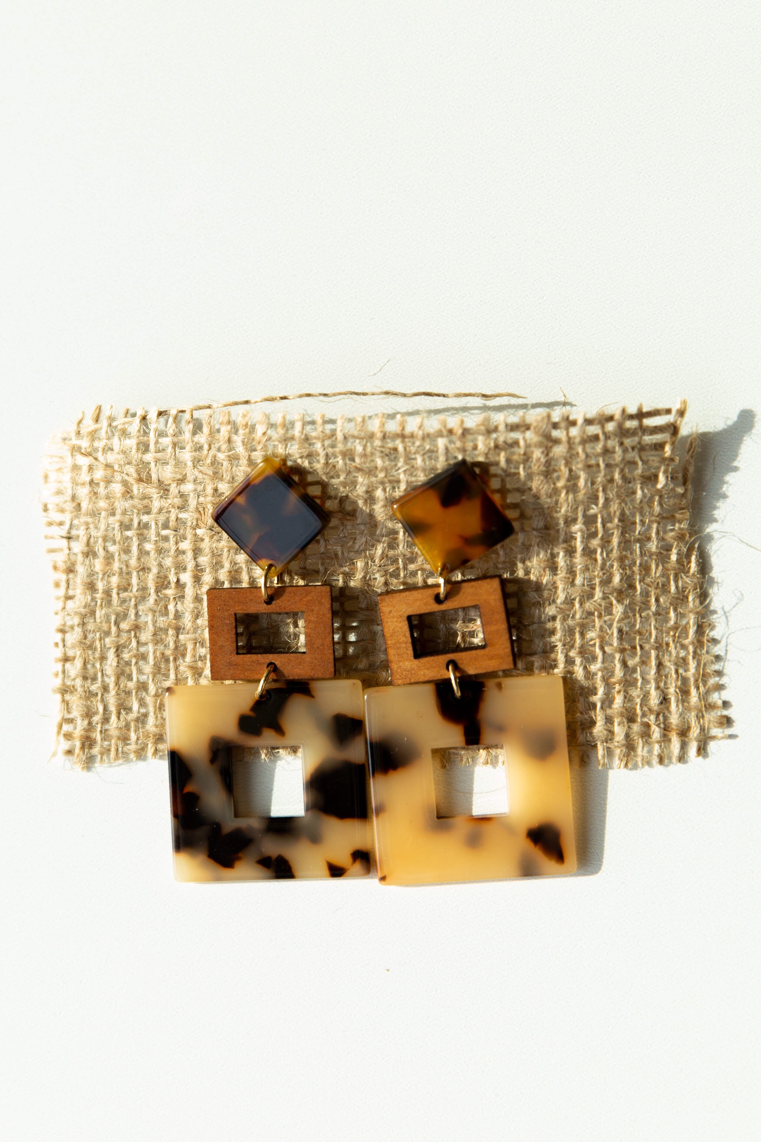 mode, wood + acetate square earrings