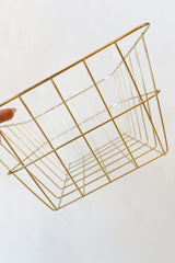 rectangle gold wire basket