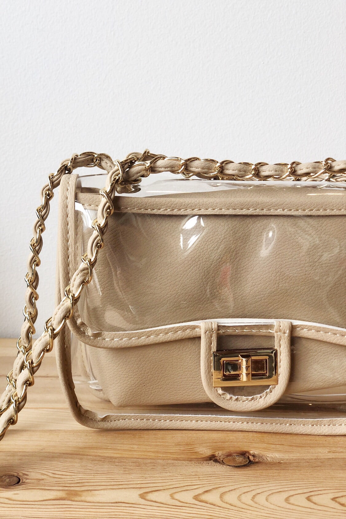 clear bag w/ chain
