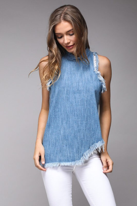 mode, shredding edges denim tank
