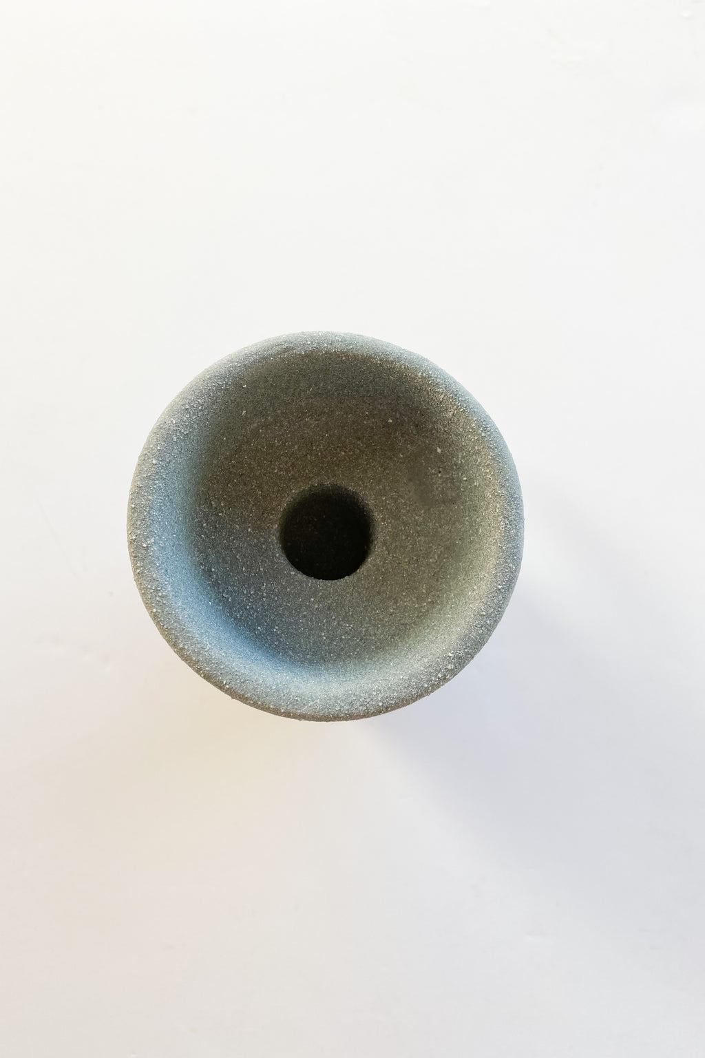 stoneware tealight/taper holder, matte grey