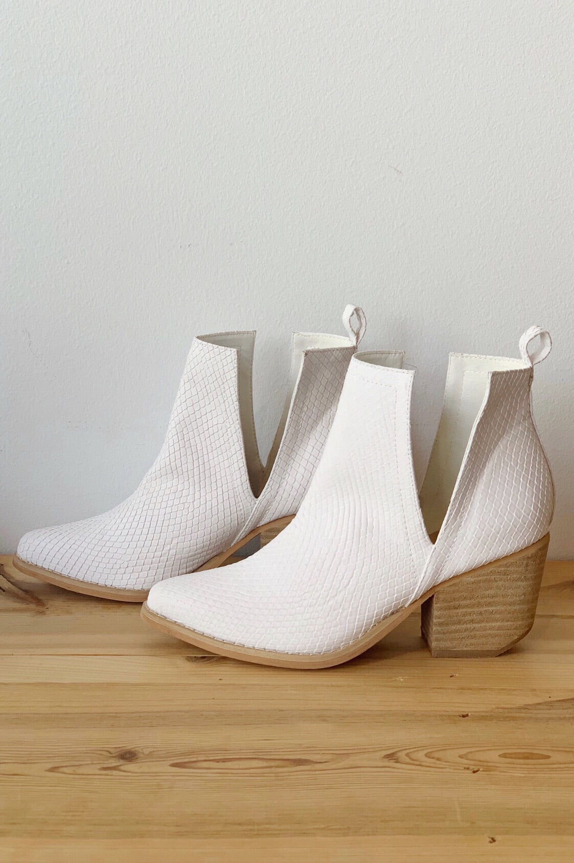 mode, whimsical side slit bootie